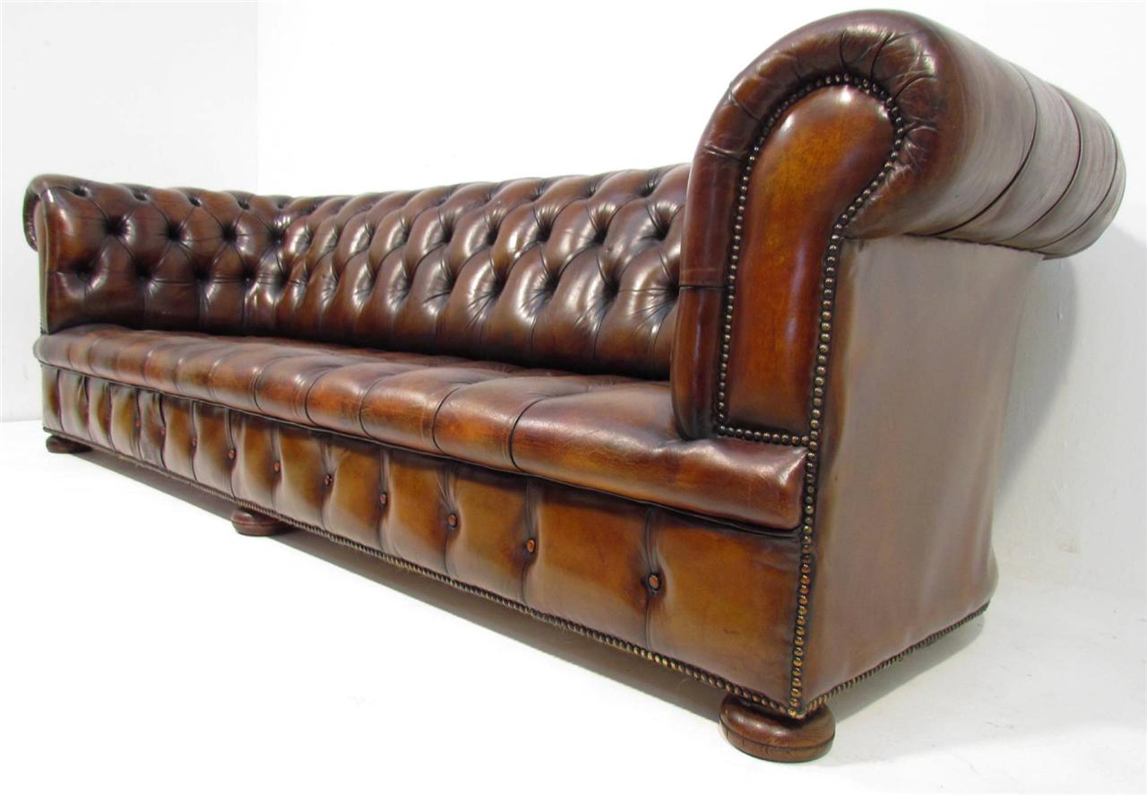 a good large long antique style deep seated tan brown chesterfield sofa ebay. Black Bedroom Furniture Sets. Home Design Ideas
