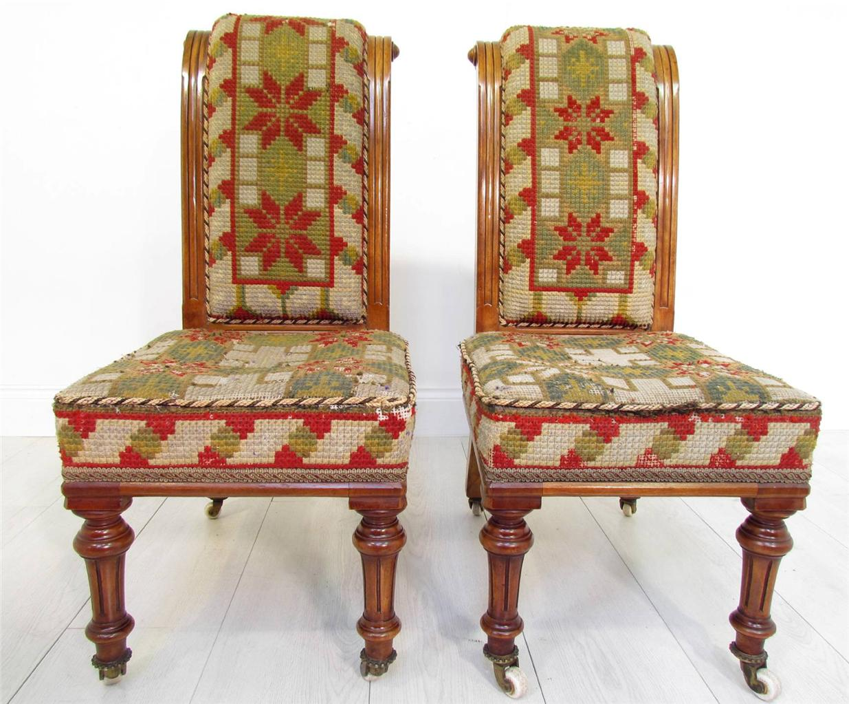 A Good Antique Pair of 19 th C Walnut Bedroom Chairs