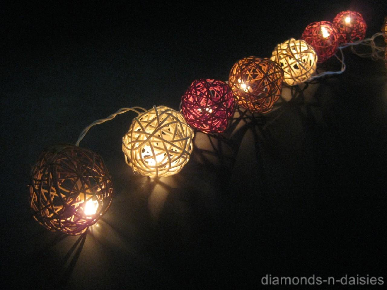 20 Brown Amp White Mix Wicker Rattan Ball Led String Fairy