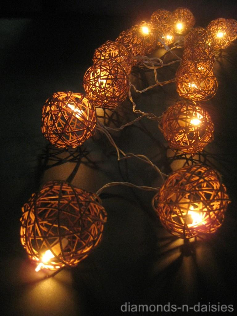 35 Natural Brown Wicker Rattan Ball 5m Led String Fairy
