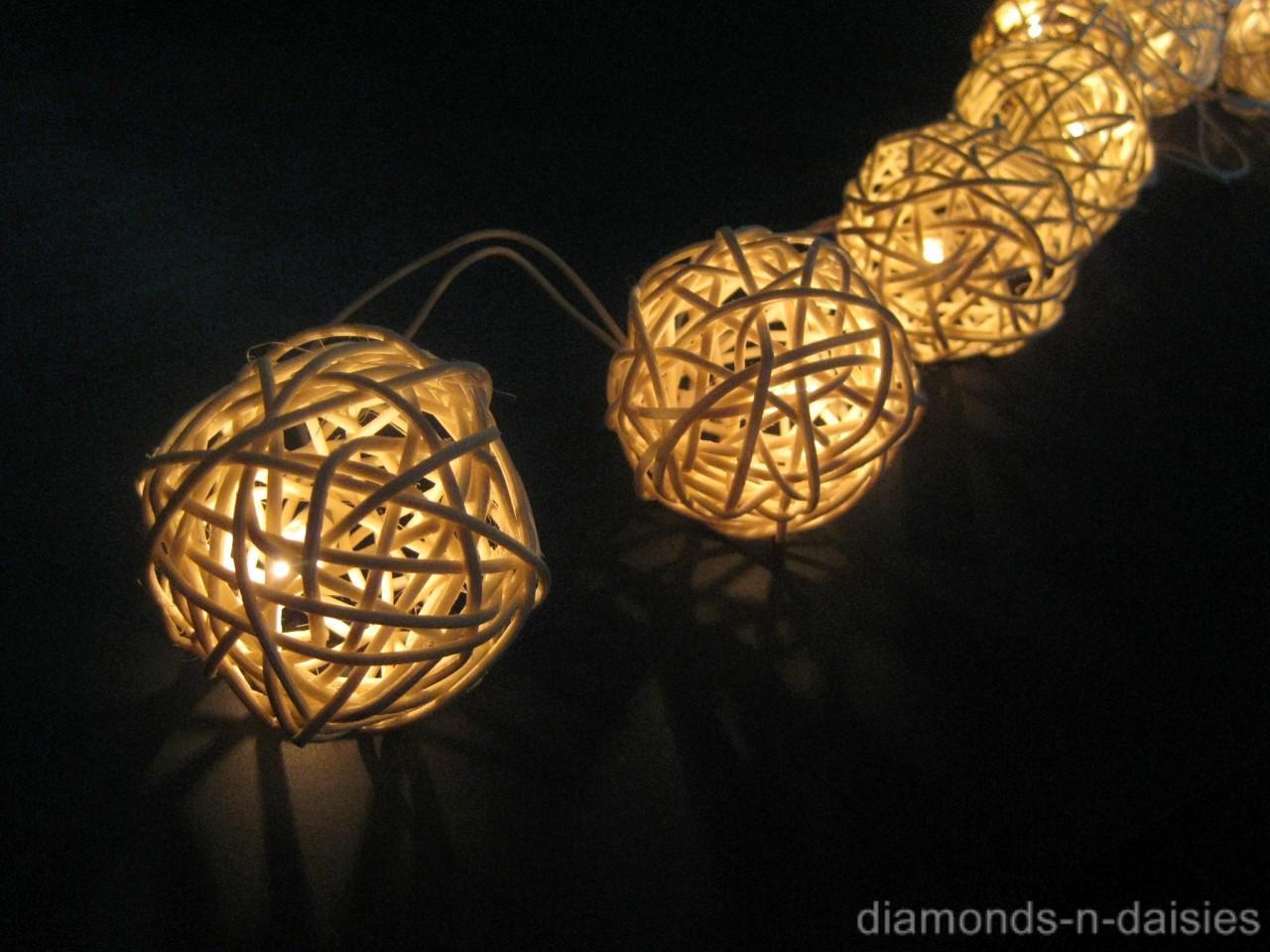 20 Warm White Wicker Rattan Ball Led String Fairy Lights
