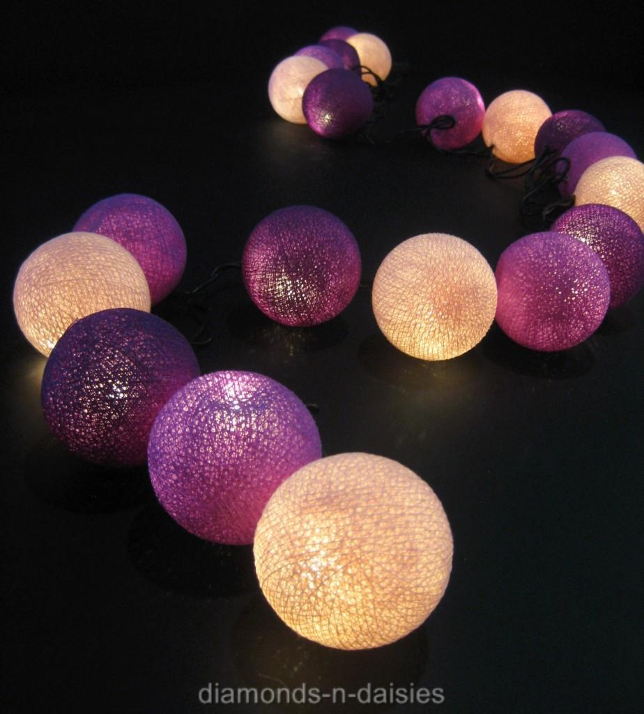 20 purple mix cotton ball led string fairy lights lanterns. Black Bedroom Furniture Sets. Home Design Ideas