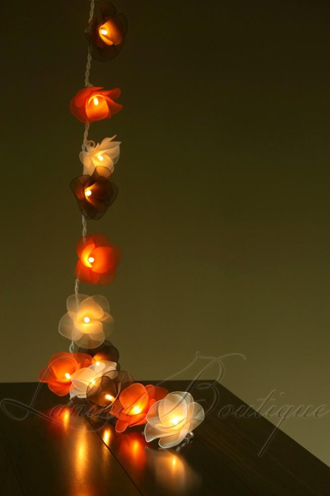 20 White Brown Amp Orange Nylon Rose Flower Led String