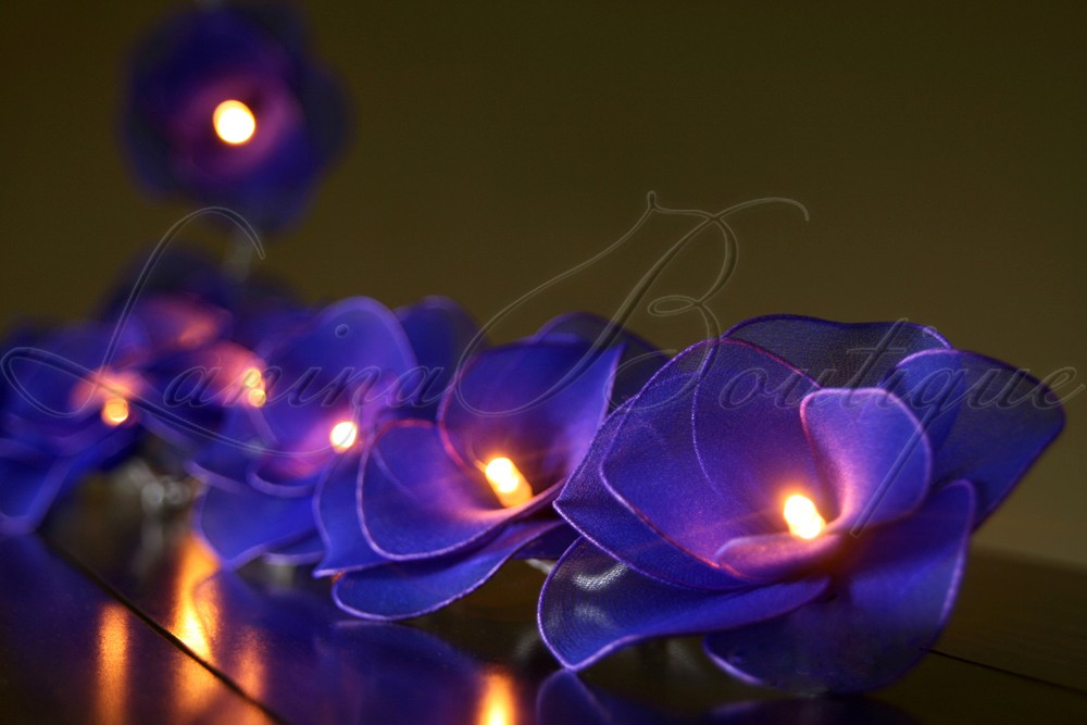 20 Blue Nylon Rose Flower Led String Fairy Lights Lanterns