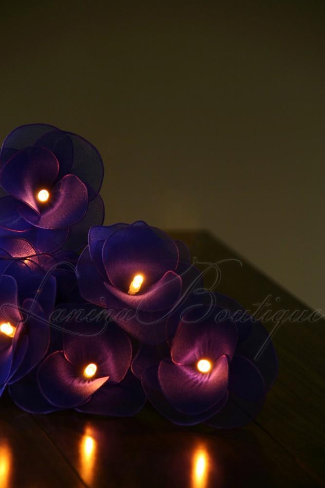 20 Blue Nylon Rose Flower Led String Fairy Lights Lanterns