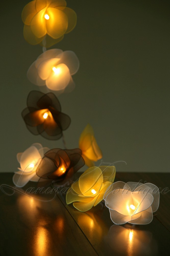 20 Bumblebee Nylon Rose Flower Led String Fairy Lights White Brown Yellow Lamps Ebay