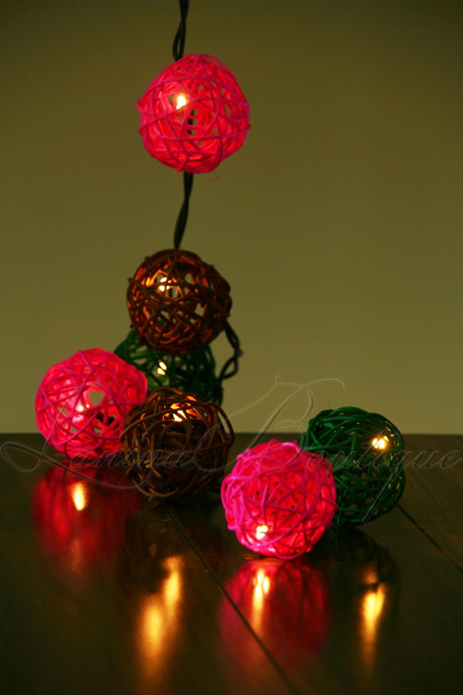 20 Pink Green Amp Brown Wicker Rattan Ball Led String Fairy