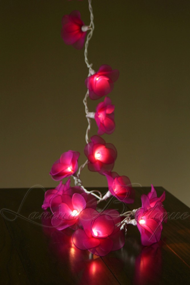 20 or 35 led nylon rose flower plug in string fairy lights - Flower Christmas Lights