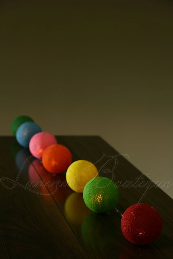 20 Colourful Mix Battery Operated Cotton Ball Led String