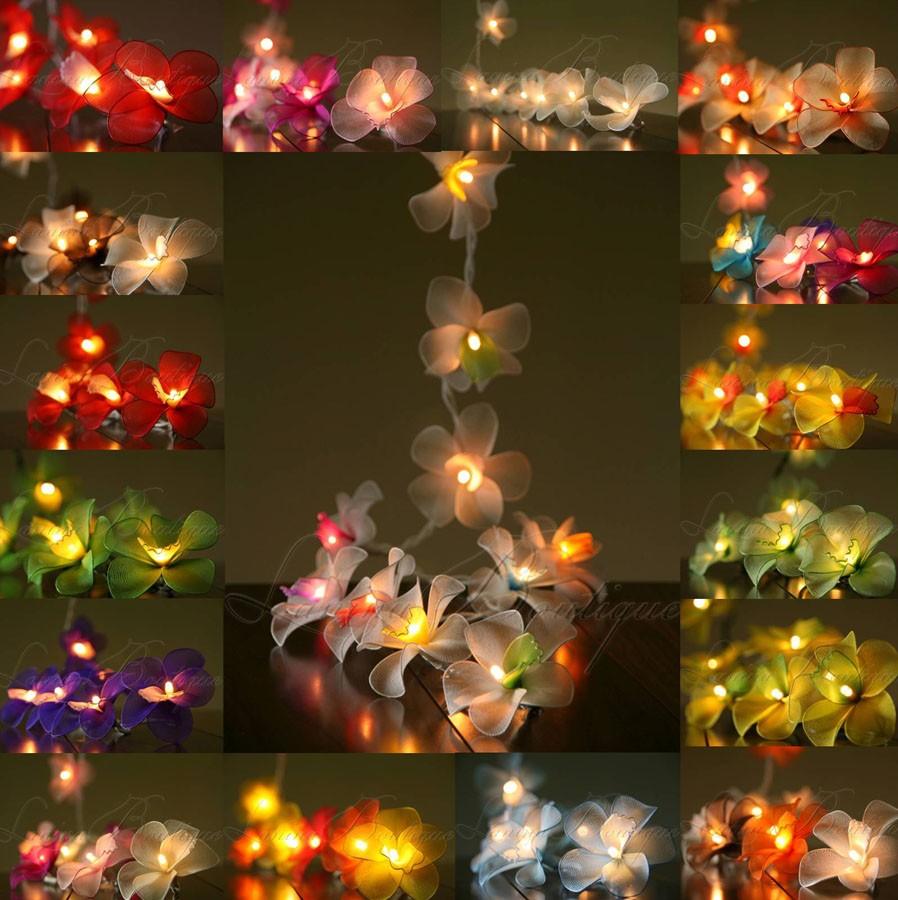 20 or 35 led nylon orchid flower string plug in fairy lights - Flower Christmas Lights