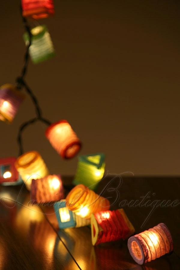 35x Multi Colour Mini Chinese Paper Lanterns 5m Led String
