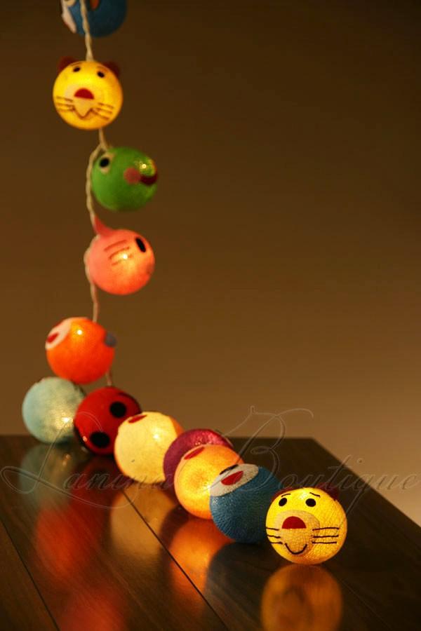 20 Novelty Colourful Animal Cotton Ball Led String Fairy