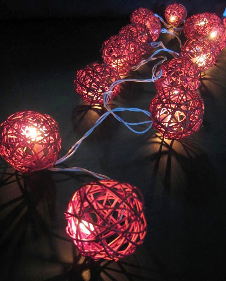 20 Wicker Rattan Ball Led String Fairy Lights Au Plug Or