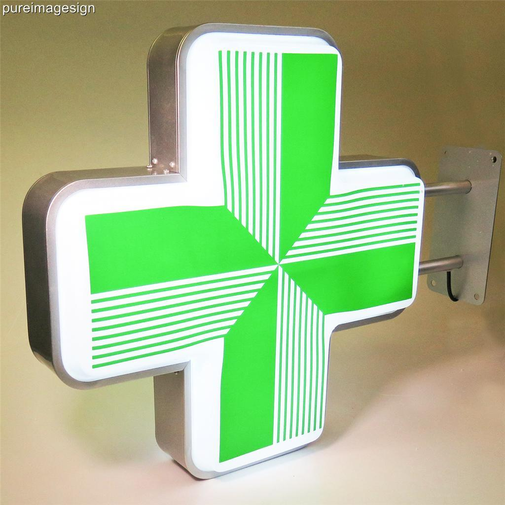 led sign pharmacy shop projecting light box outdoor green cross 55 55cm ebay. Black Bedroom Furniture Sets. Home Design Ideas