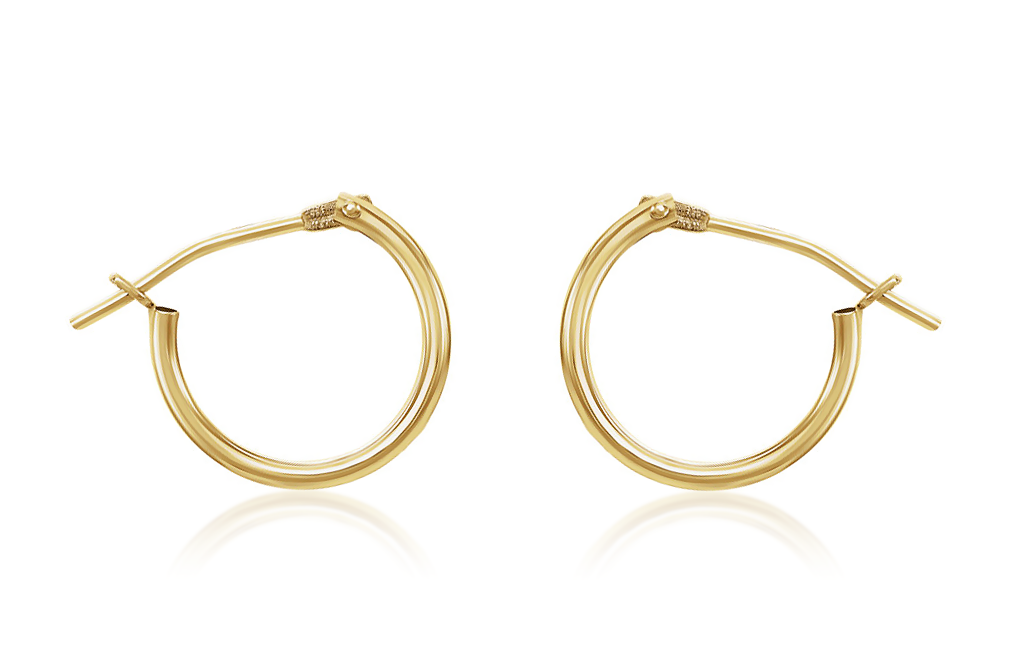 14K Yellow Gold Hoop Earrings Kids Size 9.75 x 1.25mm Round Plain Polished Snap