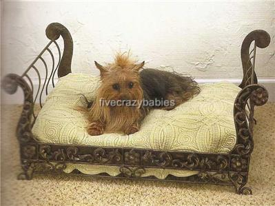 Posh Antique Style Brass Sleigh Dog Pet Cat Bed Tole