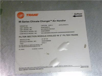 Trane M Series 4 Section Climate Changer Air Handler Model