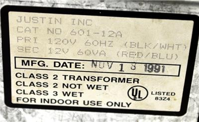 JUSTIN INC 601-12A CLASS 2 TRANSFORMER 120V VOLT 60H USED BUT GOOD FREE SHIPPING