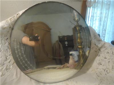 Vintage Large Round Etched Glass Art Deco Smoke Edge Frameless Wall Mount Mirror