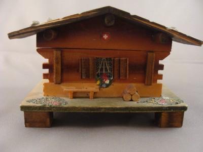 Vintage Swiss Chalet House W Music Box Window Bench