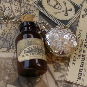 watch necklace pendant flask pirate locket Victorian gun metal