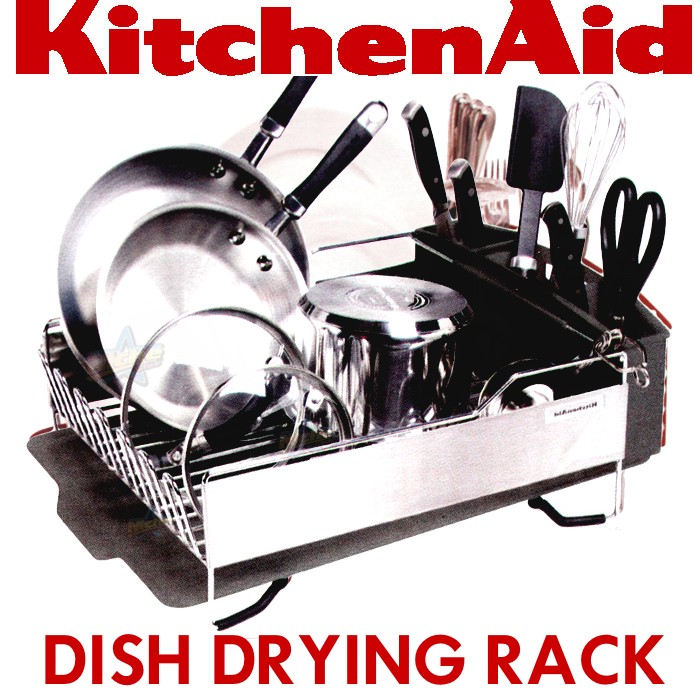 3pc kitchenaid dish drying rack plate drainer tray cup holder caddy kitchen aid ebay. Black Bedroom Furniture Sets. Home Design Ideas