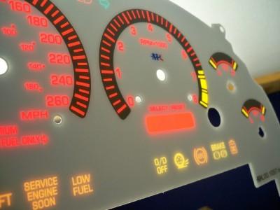 99-03 Metric in Kilometers Ford Mustang Cobra White Face Glow Through Gauges Kit