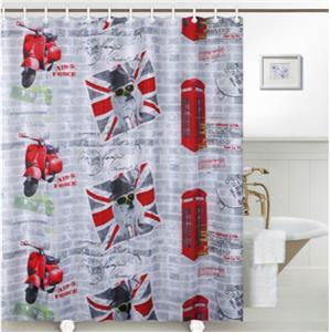 British Bulldog Union Jack Flag Red Telephone Box Bathroom Shower Curtain