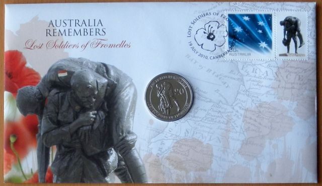 10 X AUSTRALIA REMEMBERS LOST SOLDIERS - FROMELLES 2010 PNC STAMP 20C COIN COVER