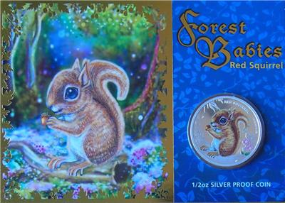 RED SQUIRREL 2013 Tuvalu FOREST BABIES 50C CENTS 1//2 OZ PURE SILVER PROOF COIN