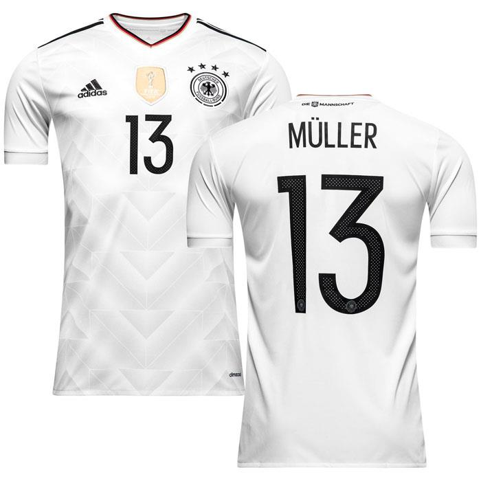 463e6217b adidas Germany 2017 Home Jersey Short Sleeve Muller 13 White Black ...