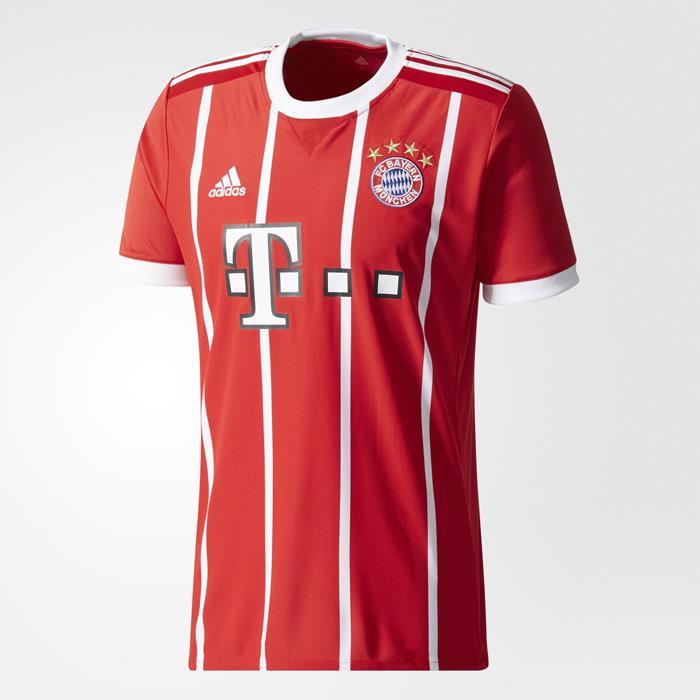 0b45194c17e adidas Bayern Munich 2017 18 Men s Home Jersey Short Sleeve Red 1706 ...