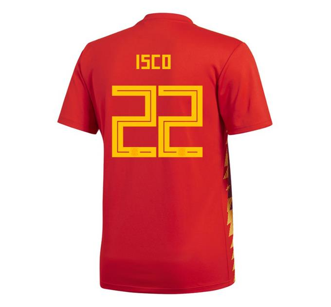 604bf47d6 adidas 2018 World Cup Spain Men s Home Jersey CX5355 w  Isco 22 1805 ...