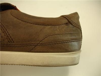 Details about Mens 10 10.5 44 ECCO Collin Nautical Perforated Sneaker Shoes Brown Leather Boat