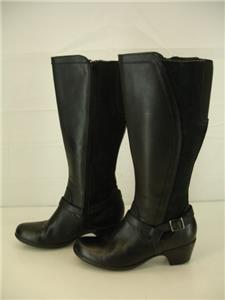 44862233d07 Womens 9 M Clarks Ingalls Baltic Black Leather Knee High Boots Side ...