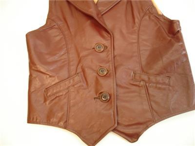 b9fa1beb5 Womens XS Vtg 1960's 1970's brown leather vest jacket western hippie ...