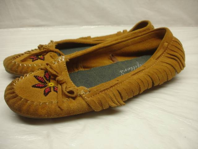 Womens 10 American Eagle Beaded Moccasins Fringe Tan Suede