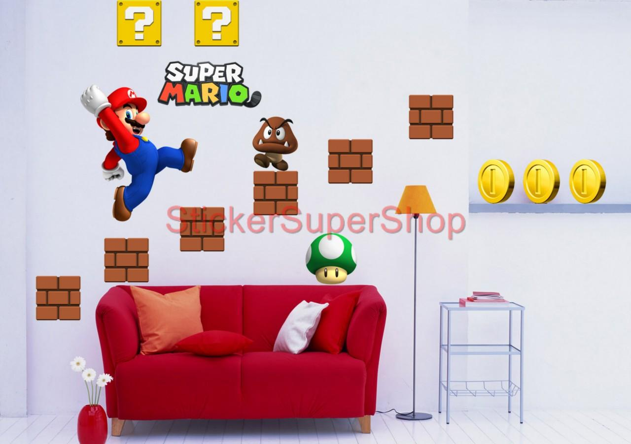 Choose Size Super Mario Bros Decal Removable Wall Sticker Vinyl Mural Set No 2
