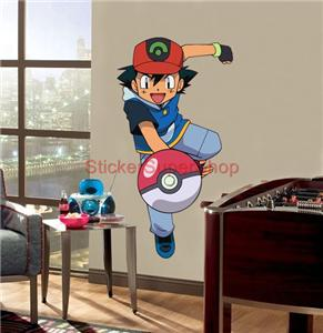 xxl ash ketchum pokemon decal removable wall sticker art decor mural 80x42 cm ebay. Black Bedroom Furniture Sets. Home Design Ideas