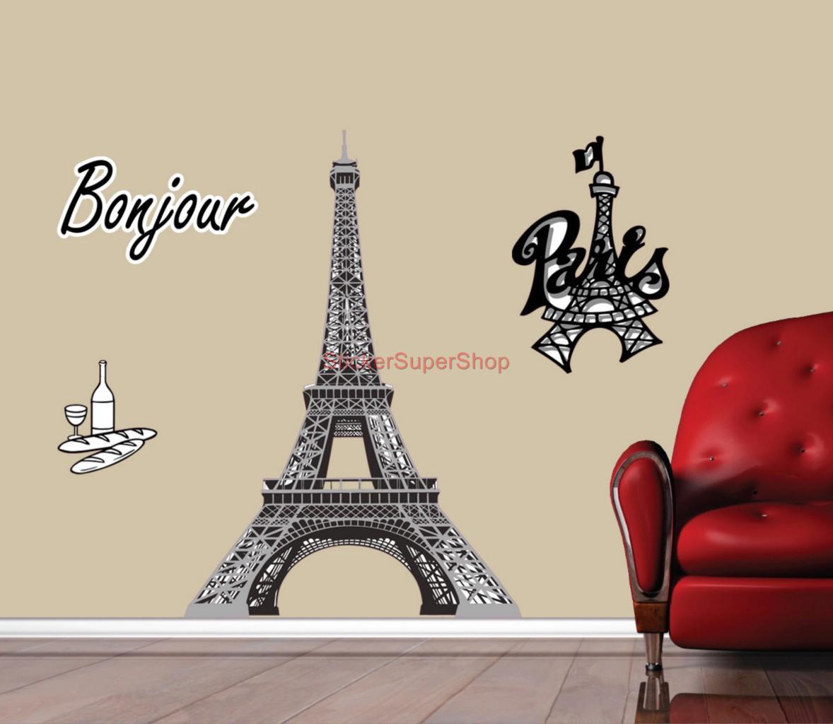 choose size paris eiffel tower decal removable wall sticker home decor art ebay. Black Bedroom Furniture Sets. Home Design Ideas