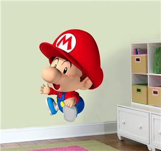 XXL Baby Super Mario Bros Decal Removable Wall Sticker Home Decor Peel