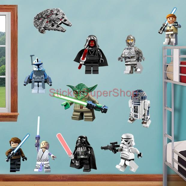 lego star wars 11 characters decal removable wall sticker home decor art obi wan ebay. Black Bedroom Furniture Sets. Home Design Ideas