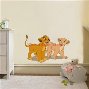 lion king disney decal removable wall sticker home decor art simba nala kids ebay. Black Bedroom Furniture Sets. Home Design Ideas