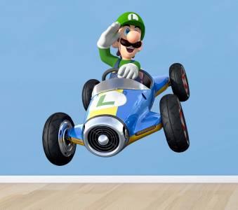 Luigi Race Car Super Mario Bros Decal Removable Wall