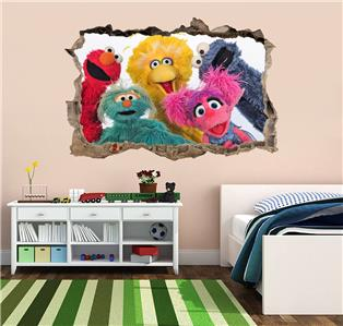 Sesame street elmo smashed wall decal graphic wall sticker for Elmo wall mural
