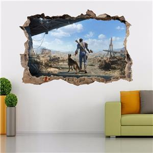 Fallout 4 smashed wall decal graphic sticker home decor for Fallout 4 mural