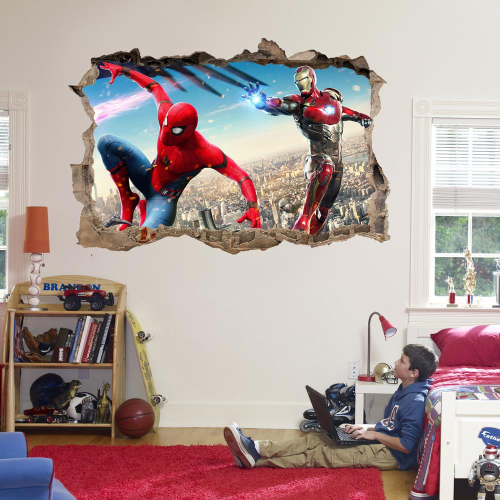 Image Is Loading Spider Man Iron 3d Smashed Wall Sticker