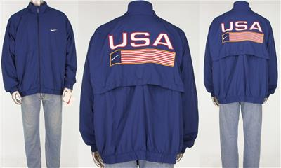 Details about Vintage Nike USA Olympic Team Track Field Flag Windbreaker Hip Jacket NEW XXL
