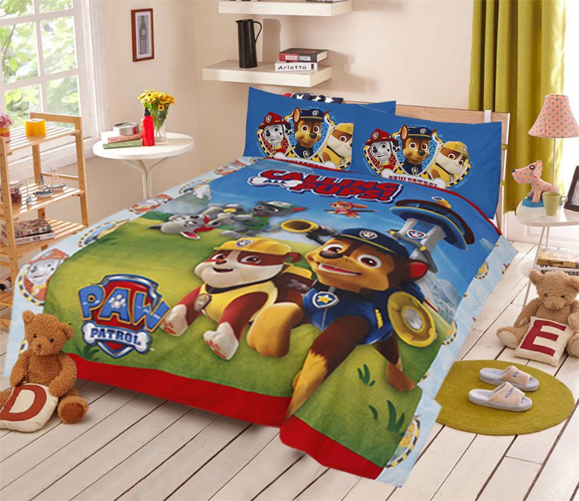 Paw Patrol Pups Double Size Boys Kids Bed 100 Cotton Quilt