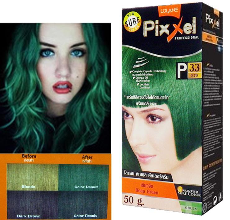 Lolane Pixxel Hair Permanent Dye Color Cream Green Color Shade P33